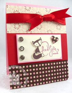 "xtra cute ""Fox and Friends"" card by Independent Stampin' Up! Demonstrator Mary Fish.  ♥ the cute little fox!"