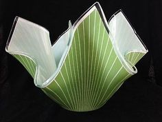 "CHANCE BROTHER ART GLASS Large 10"" Handkerchief Vase in Cordon green 1958"