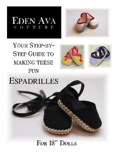 Espadrilles Sewing Pattern girl doll, doll clothes patterns, espadrilles, espadrill shoe, eden ava, cover art, doll shoes, ag dolls, american girls