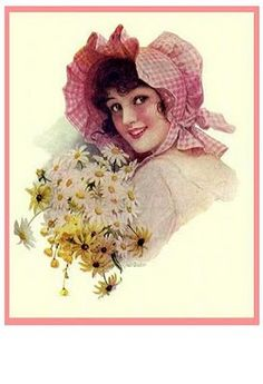 vintage country girl with gingham bonnet