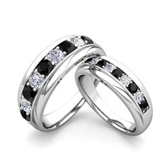 Matching Wedding Band in Platinum Brilliant Black and White Diamond Wedding Rings. Matching wedding rings feature platinum black diamond wedding bands for him and her. Customize this My Love Wedding Ring set to be your perfect couple rings.