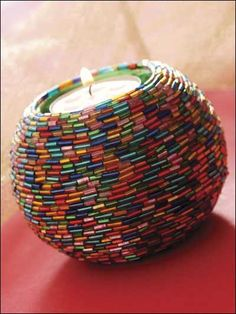 Beading - Home Decor - Rainbow Beaded Votive