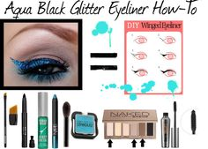 Aqua Black Glitter Eyeliner How-To by karla-cristina->Wing out liner using angled liner brush & Stila Smudge Crayon in Black.Line upper & lower waterline w/smudge crayon. Apply Urban Decay's Glitter Liner in Stagedive over the entire black liner.Line lower eyes with Nars Shadow Pencil in Palladium.Blend w/Urban Decay's Stardust Eyeshadow in Atmosphere.Apply matte shadows to the crease line like Urban Decay's Naked2 & Faint.Highlight the brow bone w/Venus.Use Benefit's Yes, They're Real mascara.