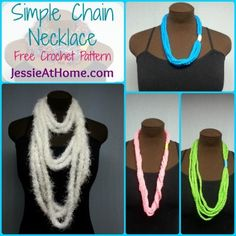 Simple Chain Stitch Necklace ~ Free #Crochet Pattern from @Jessie_AtHome