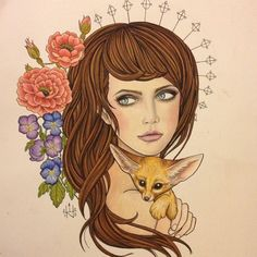 .@emilynewgent | watercolor, prismacolors and copic markers :) lady/ floral/ fennec fox/ illustration/ tattoo flash
