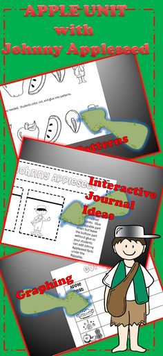 APPLE UNIT that has had a HUGE face lift!!! 30 pages of lesson ideas, games, printables, and interactive journal pages!!  #math #writing #reading #apples #JohnnyAppleseed