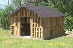 Pallet garden shed.  I might try something like this on a smaller scale.