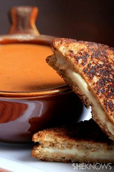 Vegan grilled cheese sandwiches with smoky tomato soup