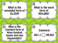 WRITE AND COMPARE DECIMALS TASK CARDS AND POSTERS: COMMON CORE ALIGNED - TeachersPayTeachers.com