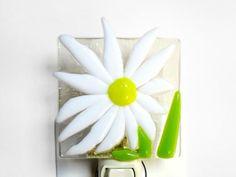 Daisy Night Light White Yellow Easter Fused Glass Nightlight Handmade OOAK