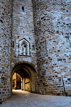 One of the gates, entrances, to the medieval walled city of Carcassonne, France.