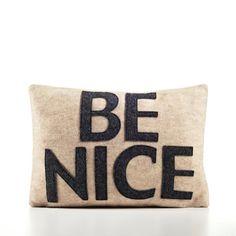 BE NICE recycled felt applique pillow 10X 14  by alexandraferguson, $69.00
