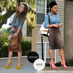 style-me-friday-how-to-wear-a-casual-pencil-skirt.jpg (700×700) leopard pencil skirt with denim shirt and coral heels shoulder bags, fashion, coral, offic, denim shirts, pencil skirts, dangle earrings, leopard prints, chambray
