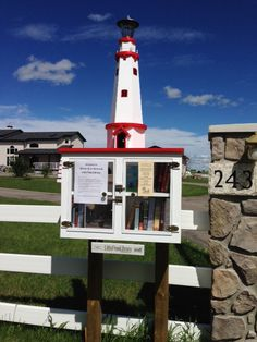Angela Wiseman. Calgary, Alberta, Canada.   A friend of mine in Calgary built a little free library and I decided to start one in our area - even though we are in a rural location. We are pretty close to Chestermere, Alberta and I am hoping I can generate enough interest in that community to keep our LFL vital. his little library is special because my father built it for me. My mother taught me the love of a good story and this wee lighthouse on the prairie is dedicated to her memory.