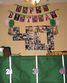 40th birthday football theme.  Good idea for a sports fan!