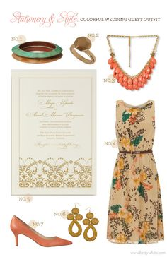 Stationery  Style: Colorful Wedding Guest Outfit