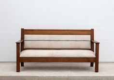 Antique Upholstered Wood Bench by 86home on Etsy