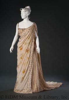 Evening Ensemble: ca. 1890's, French or English Couture house, Greco-Roman himation, hand-painted silk crepe embellished with hand-blown mercury-lined glass beads, chiffon undergown.