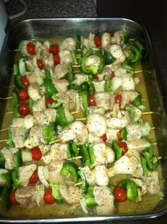 Maple Chicken Veggie Kabobs Ingredients: 1.5 lbs skinless, boneless chicken breasts, 12 skewers, 1 tsp. sea salt, 1 large red bell pepper, 1 large green bell pepper, 7 oz. Portabella mushrooms Directions: Cut everything so that it can be speared with the skewer. Preheat oven to 350. Marinate chicken. Sear all sides of chicken. Skewer the chicken and all veggies and place on grill or in oven. Bake for 30 minutes. Baste occasionally