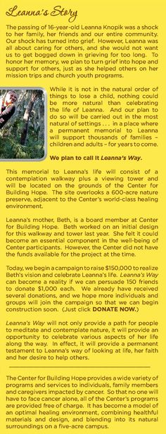 The Center for Building Hope Leanna's Way... please read & donate (every $1 counts.)
