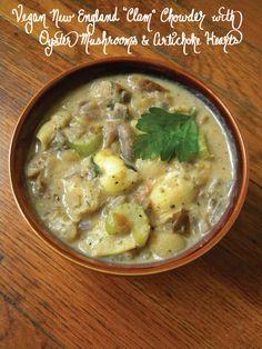 "Vegan New England ""Clam"" Chowder With Oyster Mushrooms & Artichoke Hearts"