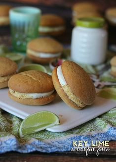 Key Lime Whoopie Pies.. They start with a Cake mix, with the addition of graham crackers, filled with a creamy Key Lime Cream Cheese filling!