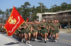Loved growing up on bases, hearing the Marines singing and drilling..here, the commanding officer leads his men.