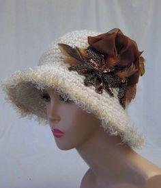 Unique crocheted hat, cloche hat, womens hat, dressy crochet hat, couture hat, wide brim hat, millinery, white hat