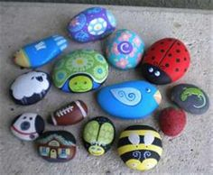 Hand Painting Flowers & Fairies on Garden Rocks. Pretty for your garden and a great school holiday activity for the kids.