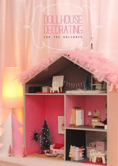 How to decorate a dollhouse for the holidays.