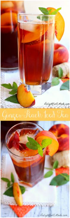 Ginger Peach Iced Tea | www.DelightfulEMade.com | #tea #drink #peach #ginger