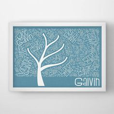 Custom Family Tree Art Print, poster typography art, modern wall decor personalized wedding anniversary gift, genealogy tree family word art