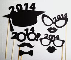 2014 Graduation Photo Booth Props - Grad Party - 8 Pieces - Class of 2014