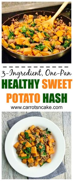 3-Ingredient, One-Pan Healthy Sweet Potato Hash - Carrots 'N' Cake