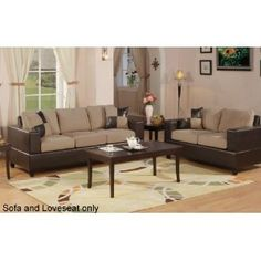Bobkona Seattle Microfiber Sofa and Loveseat 2-Piece Set in Hazelnut Color