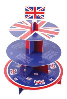 Union Jack Cake Standaard - Sisters in Wonderland street party, cupcake stands, cakes, jack cupcak, cupcak stand, tier card, diamond jubile, street parti, union jack