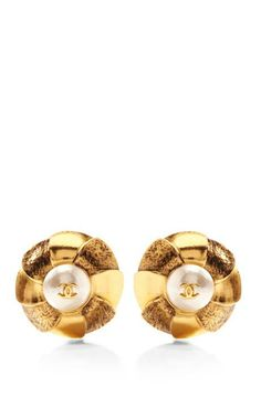 Vintage Chanel Gold And Silver Two-Tone Flower Earrings by What Goes Around Comes Around for Preorder on Moda Operandi