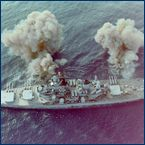 The USS New Jersey BB62 unleashing a broadside against North Korea.