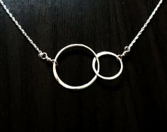 DAINTY Double Hoop Sterling Silver Necklace by persimmon on Etsy