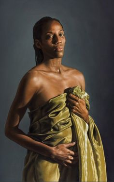 """Fiona"" - Rocco Normanno, oil on canvas, 2009; Taurisano Lecce {contemporary figurative artist female décolletage african-american black woman painting} rocconormanno.it"