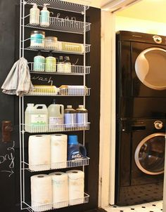 Hang a rack over the door to keep all your cleaning and laundry supplies. | 31 Ingenious Ways To Make Doing Laundry Easier