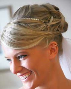 Braided Updo with Sweeping Bangs
