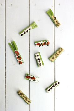 """Ants on a log """"upgrade"""" with ricotta cheese & tomatoes; hummus & pepitas; veggie cream cheese and black beans."""