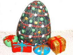 "Festive Christmas Tree Set Cranberry Popcorn ""Garland ""Painted Rock V Allen |"