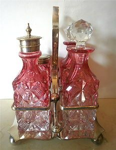 VICTORIAN CRANBERRY CUT GLASS-SILVER PLATE CONDIMENT SET-SALT-PEPPER-SHAKERS