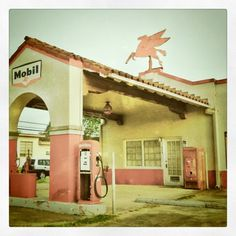 An old Mobil gas station in  Gonzales, Texas