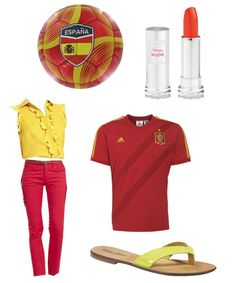 Celébralo con la roja: Blusa de Cheap Moschino, pantalónde Eay Wear, camisetade la selección, Sandalia Mario Corti, pintalabios Rouge in Love