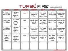 Turbo Fire schedule weeks 13-16