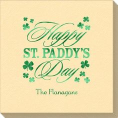 Happy St. Paddy's Day Clover Linen Like Napkins