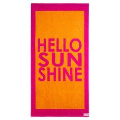 Hello Sunshine Beach Towel in Pink & Orange
